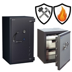Safes with protection against hacking and fire